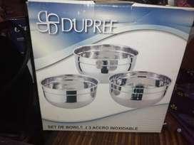 Set de Bowls x 3 en Acero Inoxidable Marca Dupree