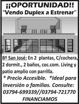 VENDO DUPLEX A ESTRENAR, 2 DORM , 2 BAÑOS, PATIO, PARRILLA, GARAGE