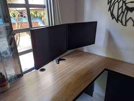 Soporte dual para monitores + 2 monitores LG de 19 pulgadas