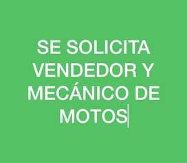Se busca vendedores y mecanicos de Moto