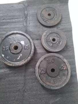 Vendo juego discos de pesas y 2 barras