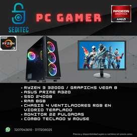 COMPUTADOR GAMER RYZEN 3 3200 SSD 240 MEMORIA 8GB MONITOR 22 PULGADAS