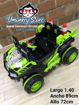 Carro montable de niño electrico bateria color verde
