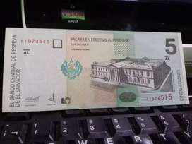 Billete de 5 colones 1998