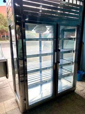 Nevera vertical refrigeracion 2 puertas panoramica