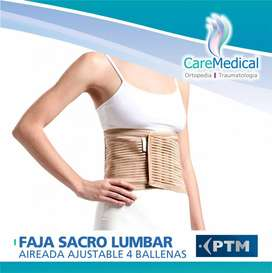 Faja Sacro Lumbar Aireada PTM con 4 Ballenas Ortopedia CARE MEDICAL