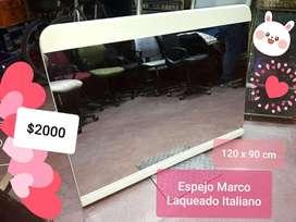 Espejo iTALIANO Marco Laqueado Beige 120X90 Zona Microcentro