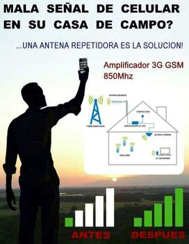 Kit Antena amplificador Repetidor inalambrico Booster 3g Señal Celular Potente 70 db versatil rural finca claro movistar