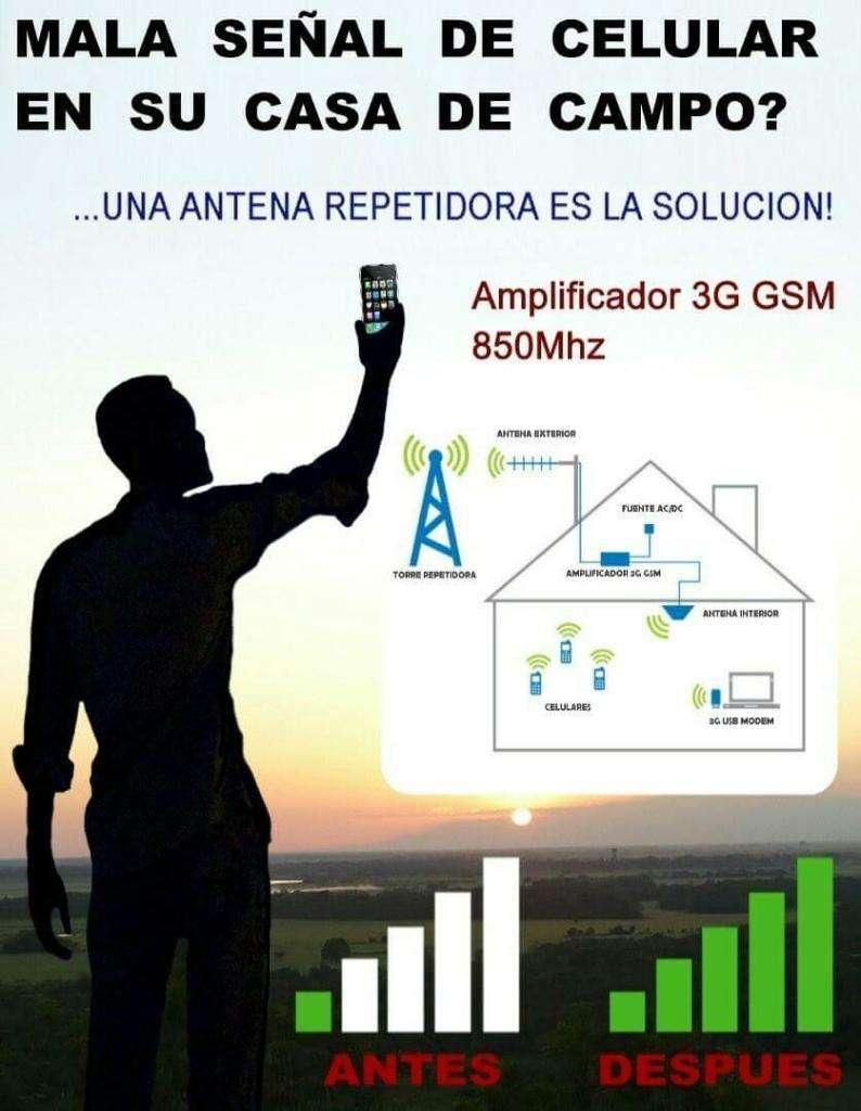 Kit Antena amplificador Repetidor inalambrico Booster 3g Señal Celular Potente 70 db versatil rural finca claro movistar