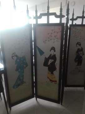 Biombo en madera  con pintura pintada a mano cultura japonesa
