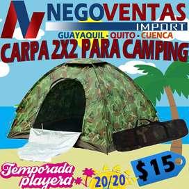 CARPA CAMPING MODELO CAMUFLAJE DE 2X2 CAPACIDAD DE 4 PERSONAS