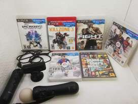 Playstation move ps3 + 6 juegos para play 3