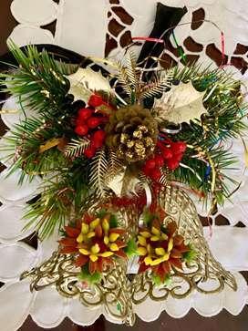 campanas navideñas para puerta + centro mesa