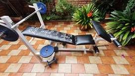 Maquina multifuncional gym + Barra, mancuernas y discos. Negociable
