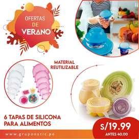Pack De 6 Tapas De Silicona Reutilizables Alimentos Frescos Gruponatic San Miguel Surquillo Independencia La Molina