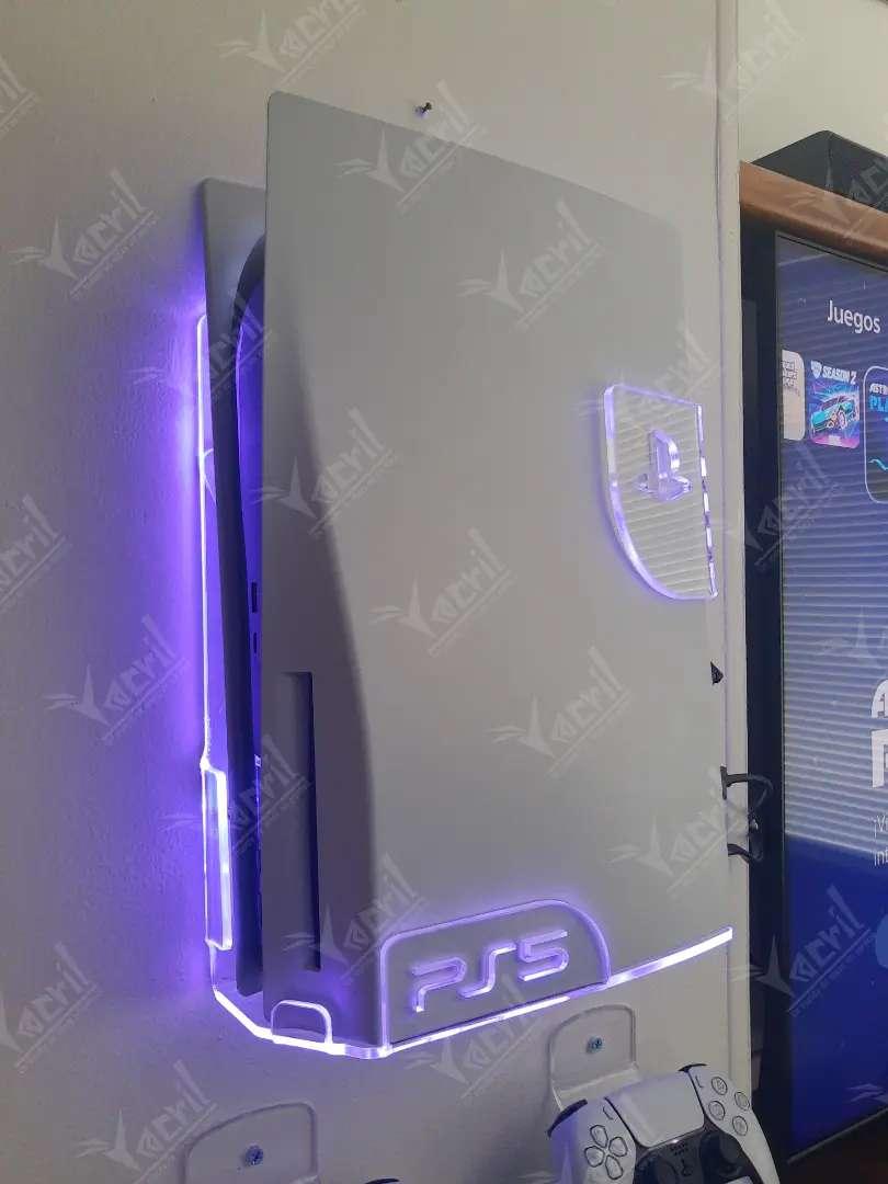 Soporte pared base  Ps5 playstation + 2 soportes de control + luces led bluetooth o cr