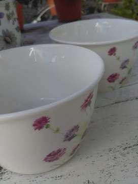 Dos cerealeros grandes cerámica blanca con flores