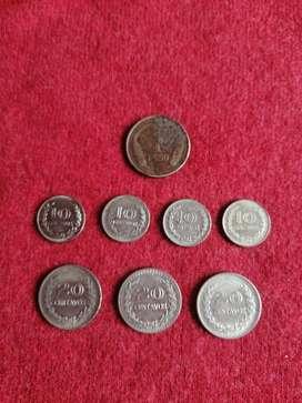LOTE DE 8 MONEDAS DE REPUBLICA DE COLOMBIA, LOTE $36000, CADA UNA A $5000.MONEDAS
