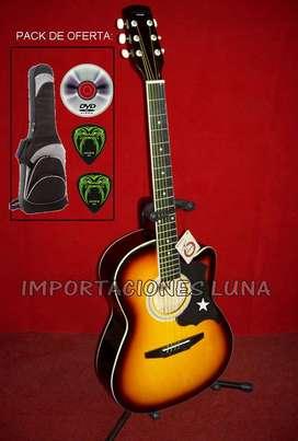 venta guitarra fuego acustica tricolor para adultos y niños