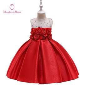 Vestido Rojo Flores Arriba