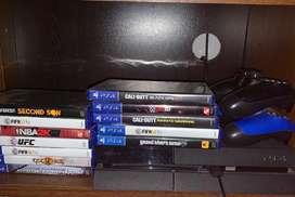 PS4 con dos mandos y 12 juegos