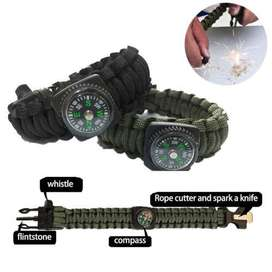 5in1 Paracord Brazalete De Supervivencia compass/flint/fire starter/whistle Camping Gear
