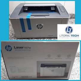 Impresora HP Laser 107w, b/n, wifi