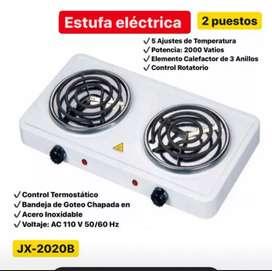 Fogón electrico 2 puestos, estufa eléctrica 5 niveles tempera..