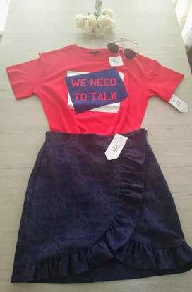 Conjunto de falda y blusita de ELA nuevo
