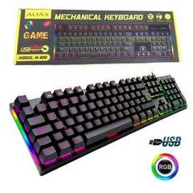 Teclado Gamer Mecánico Con Luz Led Rgb Aoas M-600 Con Ñ