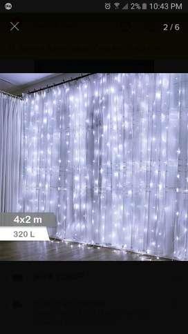 Cascada Navideña Luz Blanca Led 2x4 Mts