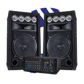 Equipo de sonido Amplificador AS-AMP1200 y cabinas pasivas QTECH-15