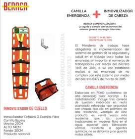 Camilla emergencia + inmovilizador + soporte + señalizacion