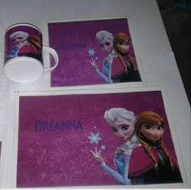 Mochila, taza, servilleta y mantel personalizados con foto personaje a tu gusto