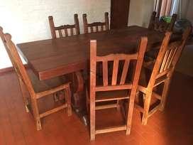 Mesa de algarrobo maciza 6 sillas