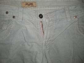 Pantalón Riffle Jean   GRIS Corderoy XL Ancho Tiro 21cm Ancho