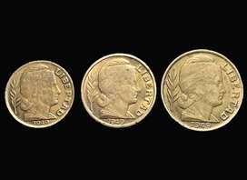 Moneda Arg. 5, 10 y 20 cents. 1949 Serie Toritos KM#40/41/42