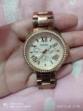 Reloj Fossil cecile am4483 rosa dorado original