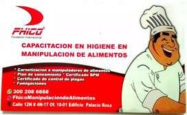 Carnés y certificado en manipulacion de alimentos