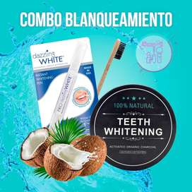 Kit Blanqueador Dental Carbon 60g + Lapiz Dazzling + Cepillo