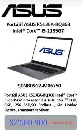 Portátil Asus K513ea-bq368 15.6 Fhd Core I5 8gb 256 Gb Ssd