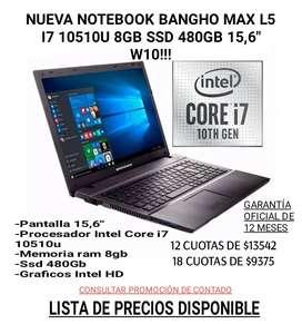 NUEVA NOTEBOOK Notebook Bangho Max L5 i7-10510U 8GB SSD480 15,6″ W10 HASTA EN 18 CUOTAS!!!