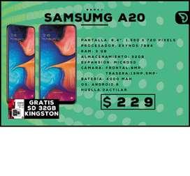 SAMSUNG A20 + TARJETA SD 32GB ($229)