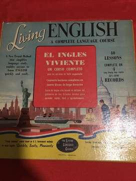 Disco vinilo Living English el ingles viviente en excelente estado curso completo 4 discos con libro y diccionario