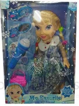 Muñeca Frozen Elsa Con Microfono + Obsequio