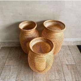 Juego de cestas en fibra natural