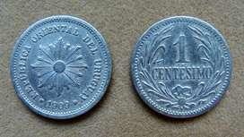 Moneda de 1 centésimo Uruguay año 1909