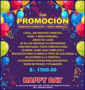 LOCAL DE EVENTOS S/. 250.00 FIESTAS INFANTILES, CUMPLEAÑOS, BAUTIZOS, CHICOTECAS, BABY SHOWER, REUNIONES, etc.