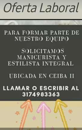 SOLICITAMOS MANICURISTA Y ESTILISTA INTEGRAL