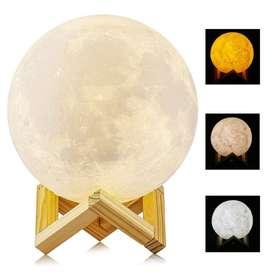 Lámpara Luna 12 Cm 3d Luz Led Colores + Base Madera